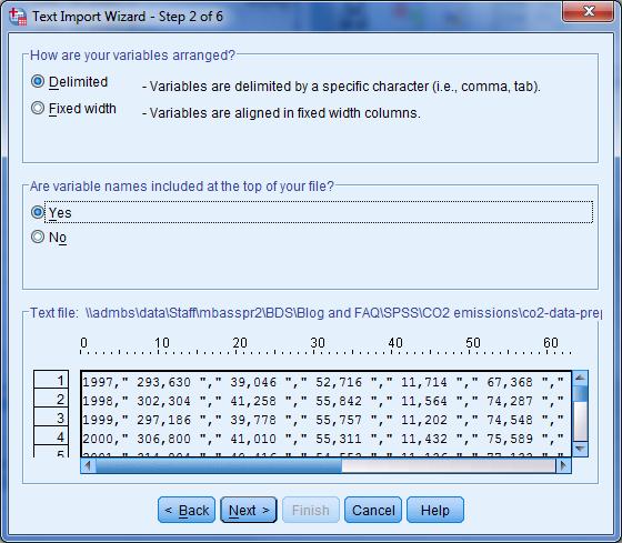 Data importeren. SPSS data import stap 2