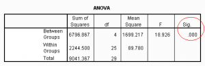 SPSS output interpreteren uitleg en voorbeeld, screenshot