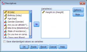 statistiek met het spss programma, screenshot variabelen